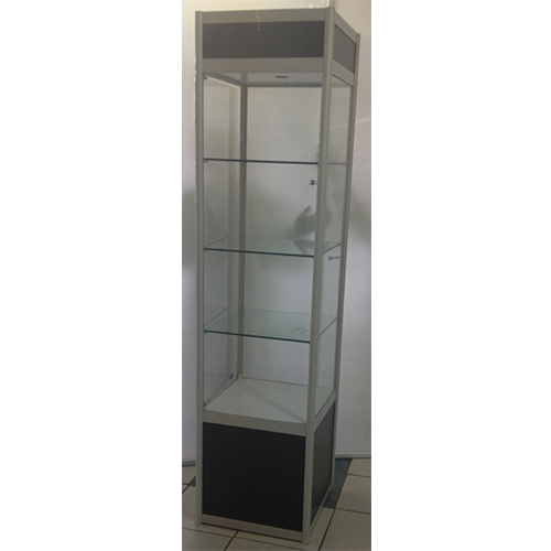 Square Glass Showcase With Storage Cupboard