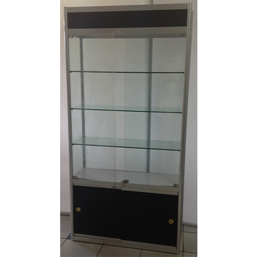 Square Glass Showcase With Storage Cupboard and Kickboard
