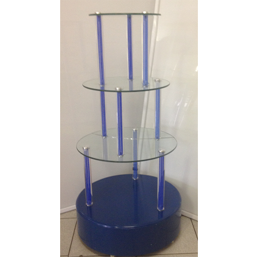 Round Glass Showcase Stand With Perspex Pole