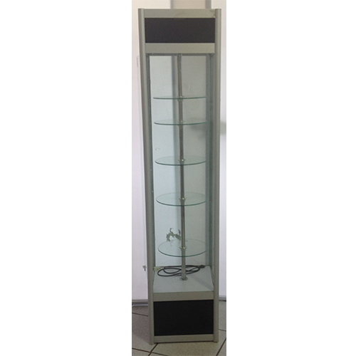 Floor Standing Glass Showcase With Rotating Glass Shelves