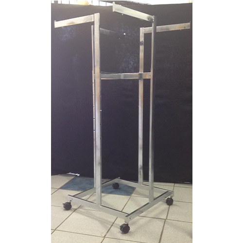 4 Arm, Straight Extendable Arm Clothing Display Rack On Casters