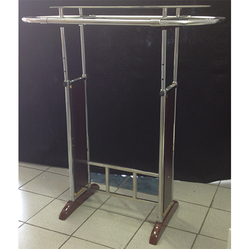 Clothing Rail With Wooden Base And Oval Pipes And Glass Shelf On Top