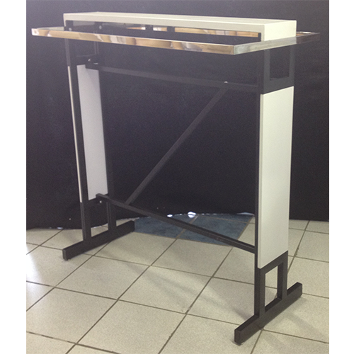 Double Bar Clothing Rail With Black Wooden Top Finish