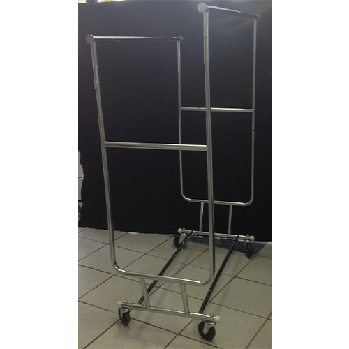 Chrome Heavy Duty Collapsible Salesman Clothing Double Rail