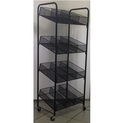 4 Tier Display Stand With 3 Tier Sloping Baskets With 12 Partitions