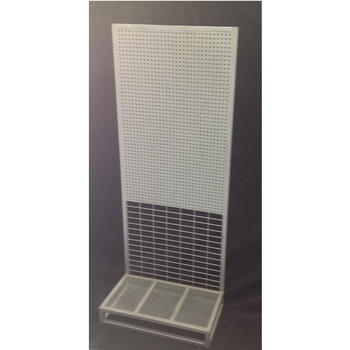 Single-Sided Metal Pegboard Display Stand On Casters
