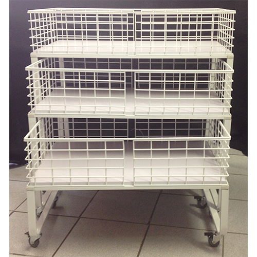 3-pc Set Promotion Basket Display Stand On Casters